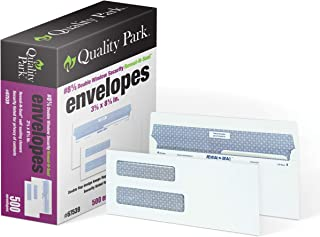Quality Park #8-5/8 Double Window Security Tinted Check Envelope with Reveal-N-Seal Self Seal Closure, 24 lb White Wove, 3-5/8 x 8-5/8, 500 per Box (67539)