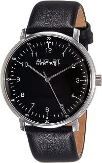 August Steiner Men's Minimalist Dress Watch - Case on Genuine Leather Strap