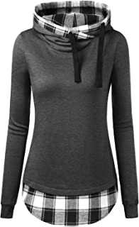 Women's Funnel Neck Check Contrast Pullover Hoodie Top