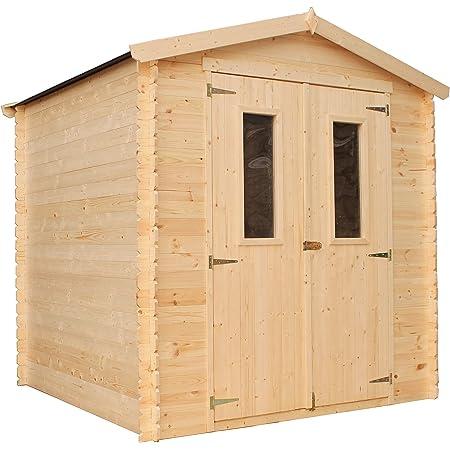 TIMBELA Abri de Jardin en Bois M343C - Stockage extérieur I216xL206xH218 cm/ 3.53 m2 Petit abri à Outils, Local à vélos - Toit imperméable, fenêtres