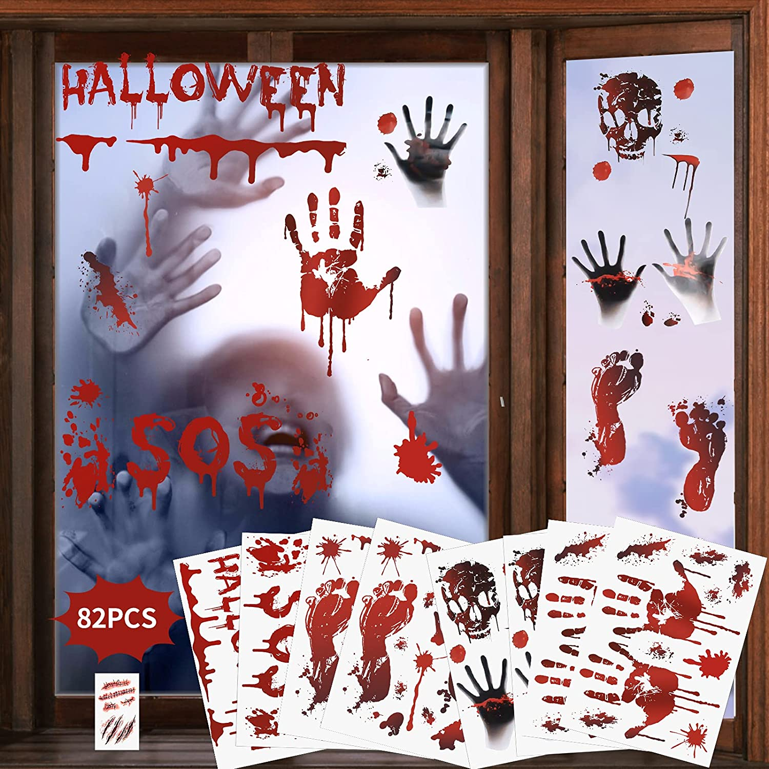 82PCS Halloween Decorations Window Stickers Tat Columbus Mall Zombie and Max 40% OFF Scars