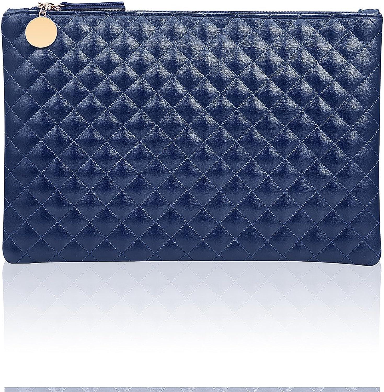 GGBAZZARA Quilted Diamond Pattern Handbag Purse Large Wristlet Phone Clutch