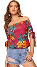 Milumia Women Floral Print Off Shoulder Tie Knot Sleeve Shirt Blouses Tops