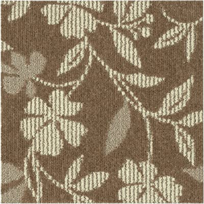 スミノエ(Suminoe) タイルカーペット ブラウン 50×50cm フローラル 防ダニ 防炎 R-3002 4枚入