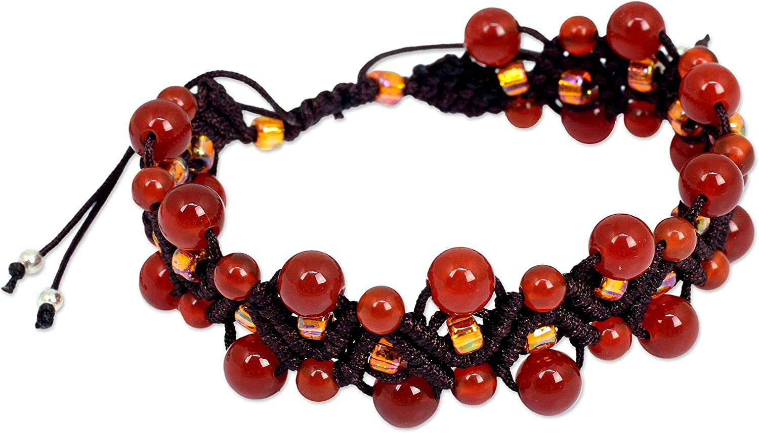 Sale price NOVICA Large-scale sale Carnelian .925 Sterling Silver Plated Br Wristband Beaded