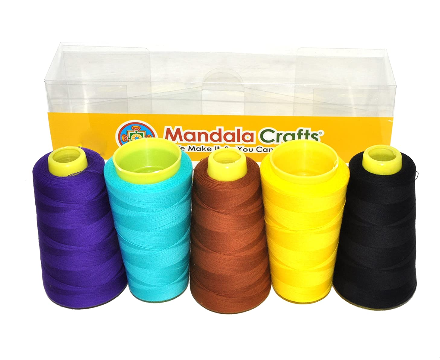 Mandala Crafts Quilting Cotton Thread Cone for Machine and Hand Sewing, 100 Percent Natural Mercerized, 50 wt (5 Rolls 6000 Yards, Black Aquamarine Brown Yellow Violet Combo 3)