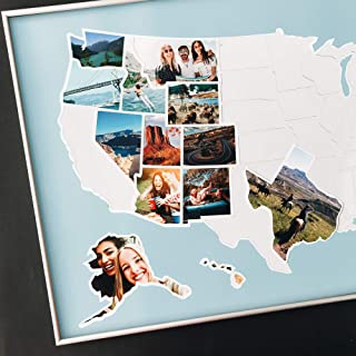 USA Photo Map - 50 States Travel Map - Blue - Fits 24 x 36 in Frames - Made from Flexible Plastic