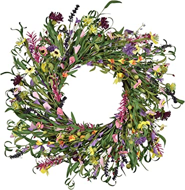 Martine Mall Floral Wreath Artificial Flower Wreath Spring and Summer Floral Wreath for Front Door Home Garden Party Wedding