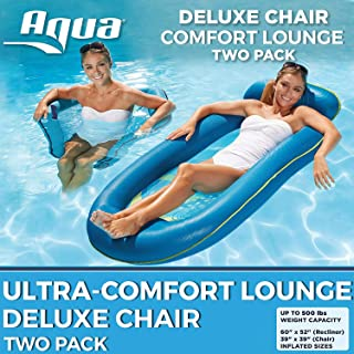 Aqua Leisure 2 Pack, Ultra Comfort Water Pool Lounger, X-Large with Foot/Headrest & Deluxe Pool Chair, Blue Waves