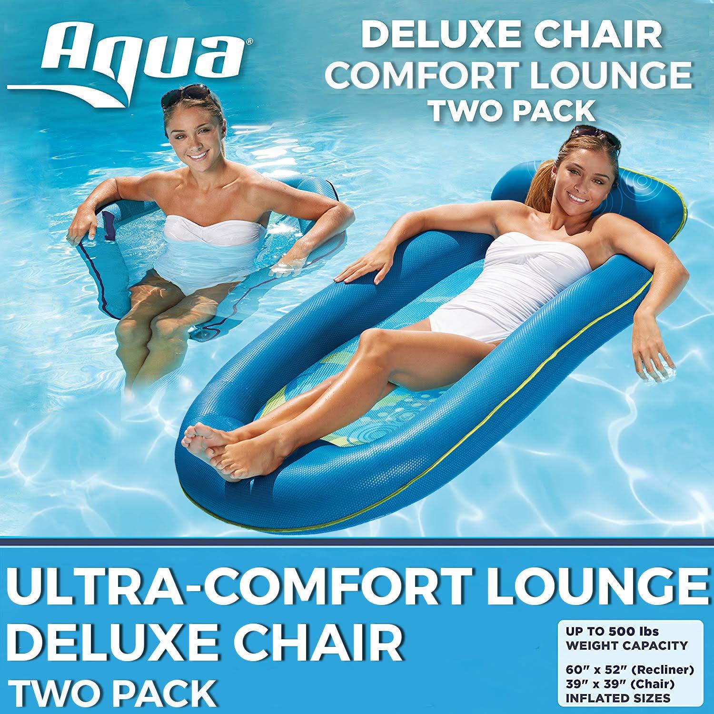 Aqua Leisure 2 Pack de 2 tumbonas para piscina de agua ultra cómodas, extra grandes con reposapiés/reposacabezas y silla de piscina de lujo, ondas azules: Amazon.es: Juguetes y juegos