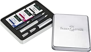 Faber-Castell Grip 2011 Calligraphy Fountain Pen Set, Silver, (40-201629)