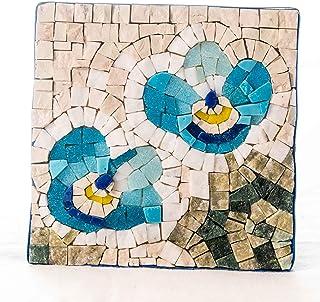Flores No Me Olvides Kit mosaico 14x14 cm (Teselas cristal y mosaico mármol italiano) - Idea regalo hazlo tu mismo - Regal...
