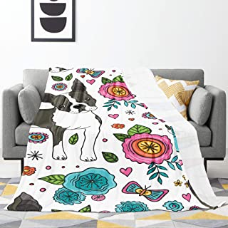 YINCHAOJI Blanket Boston Terrier and Beautiful Flowers Fleece Blankets Ultra-Soft Micro Throw Blanket Warm Bed Throws for ...