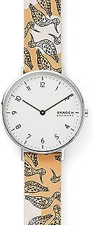 Skagen Aaren - Reloj de cuarzo para mujer (acero inoxidable y piel), diseño floral
