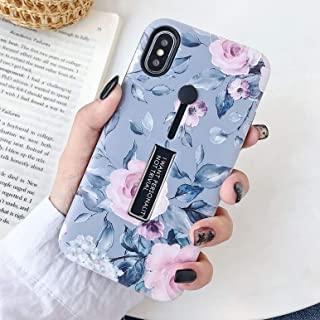 iPhone XR Case Finger Grip,3D Embossed Pink Flowers Gray Shell Design,Rugged Shockproof Slim Fit Dual Layer Finger Ring Loop Strap Case,Invisible Bracket Phone case for iPhone XR - MADINCN(Gray)