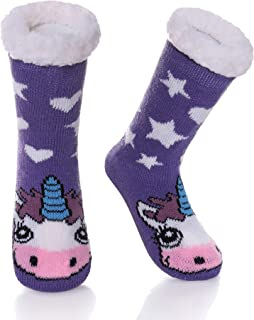 Boys Girls Cute Animal Slipper Socks Fuzzy Soft Warm Thick Fleece Lined Winter Stockings Kids Toddlers Christmas Socks
