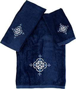 Marina Decoration Premium Luxury Decor Ultra Soft 100% Cotton Embroidered Bathroom Modern 3 Piece Towel Set, White Blazon with Royal Blue Base Pattern
