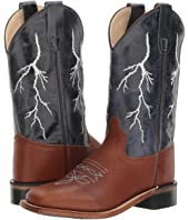 Old West Kids Boots - Square Toe Boot w/ Lightning Stitch Top (Toddler/Little Kid)
