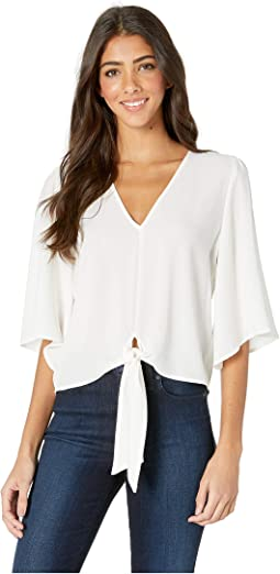 Flounce Sleeve Tie Front V-Neck Blouse