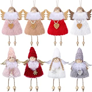 Syhood 8 Pieces Christmas Decoration Hanging Angel Doll Pendant Plush Doll Angel Ornaments for Christmas Crafts Elves Pend...