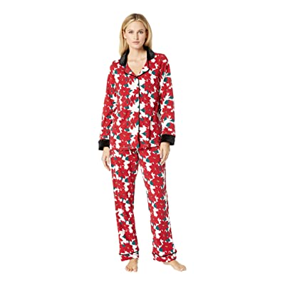 BedHead Pajamas Long Sleeve Classic Notch Collar Pajama Set (Pointsettia) Women