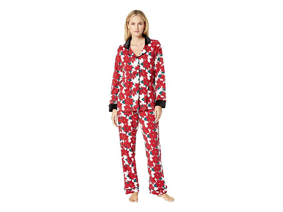 BedHead Long Sleeve Classic Notch Collar Pajama Set (Pointsettia) Women