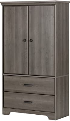 Prairie Collection Armoire with Two Drawers Country Pine Finish by South Shore