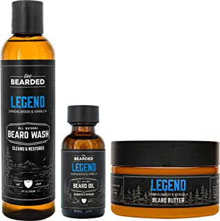 Sponsored Ad - Live Bearded: 3-Step Beard Grooming Kit - Legend - Beard Wash, Beard Oil and Beard Butter - All-Natural Ing...