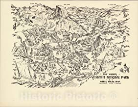 Historic Map - The Valley, Yosemite National Park 1946 - Vintage Wall Art - 24in x 18in