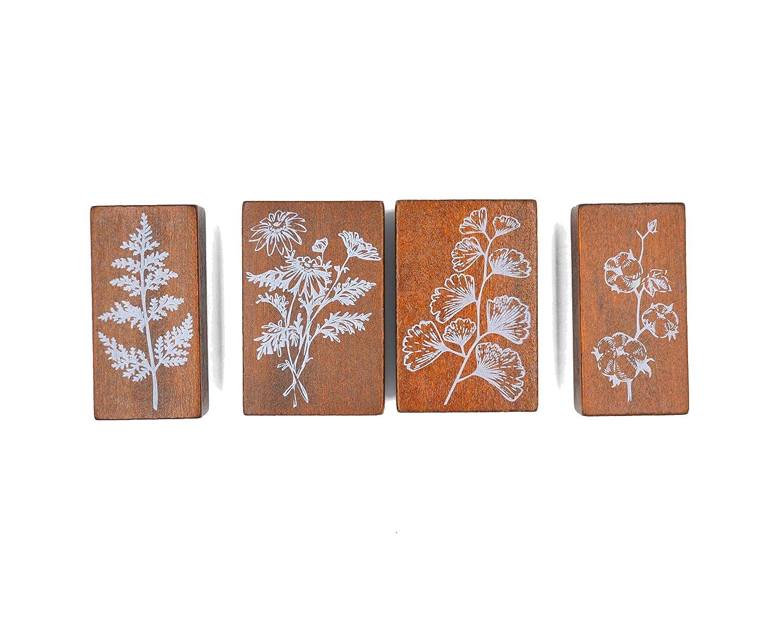 MissOrange『木製ゴム印セット』銀杏の葉 カモミール サイプレスの葉 コットンフラワー クリエイティブスタンプセット クラフトカード スクラップブッキング 手帳用 4個セットM-2
