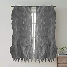 Sweet Home Collection 2 Pack Window Treatment Sheer Cascading Panel Vertical Ruffled Curtains in Many Sizes and Colors, 63...