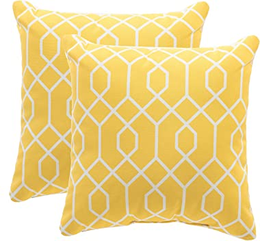 TINA'S HOME Yellow Outdoor Patio Pillows/Waterproof Down Alternative Throw Pillow for Patio Bench Swing Couch Decor(Set of 2) - 16x16