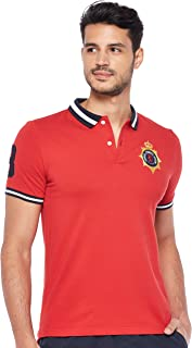 Giordano Men's 01018322 Slim Fit Polo Short Sleeve 3D Lion Multi-Color Embroidery Polo, Red (Hautre Red[red](ss19 For Me) 42), L