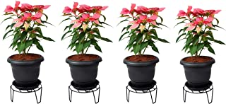 D&V Engineering Iron Indoor/Outdoor Flower Pot/Plant Stand for Home Garden or Balcony décor (Black-Set of 4)