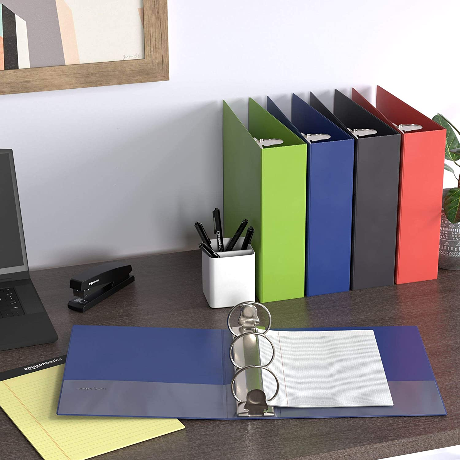 Basics 3 Inch, 3 Ring Binder, Round Ring, Customizable View Binder, Mixed, 4-Pack : Office Products
