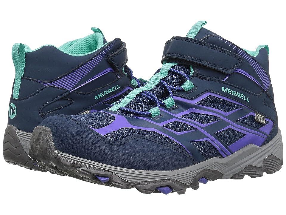 Merrell Kids Moab FST Mid A/C Waterproof (Big Kid) (Navy) Girls Shoes