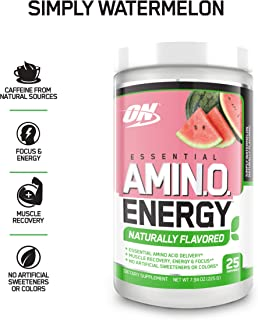 OPTIMUM NUTRITION Naturally Flavored ESSENTIAL AMINO ENERGY, Simply Watermelon, Keto Friendly Preworkout and Essential Amino Acids with Green Tea and Green Coffee Extract, 7.94 Ounce (Pack of 1)