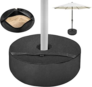 """Patio Umbrella Base Weight Bag, Weatherproof UPF 100+ 18"""" Round with Large Opening, Universal Size for Standard Outdoor Patio Umbrella, Heavy Duty Up to 85 lbs Sand (38kg)"""