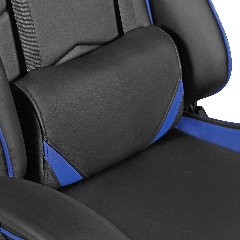 Cuir synth/étique Bleu avec des oreillers FineBuy Chaise de Bureau Racing Chaise Design Ordinateur Gamer Course si/ège Sport |avec Repose-t/ête Fauteuil de Direction Gamer Chaise de Jeu 120 kg