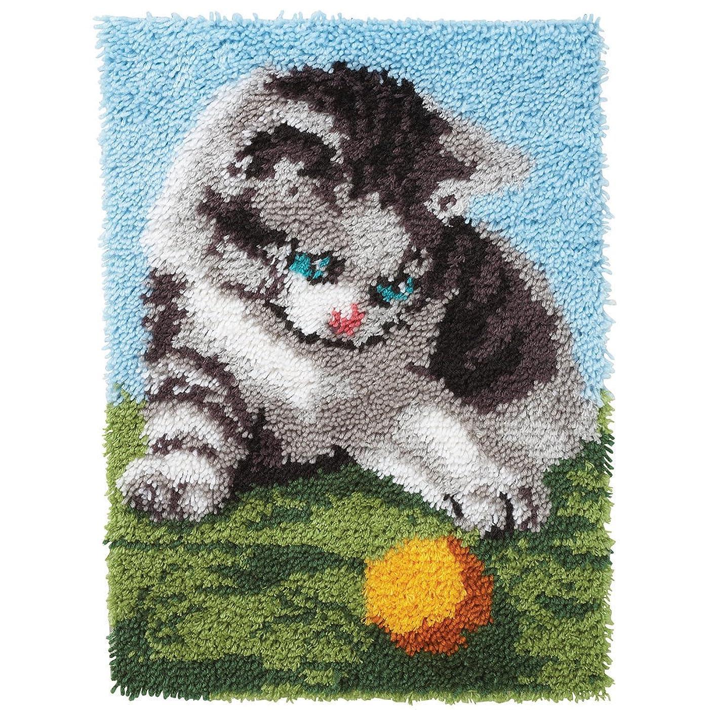 Spinrite Wonderart Latch Hook Kit, 20 by 27-Inch, Playful Kitten