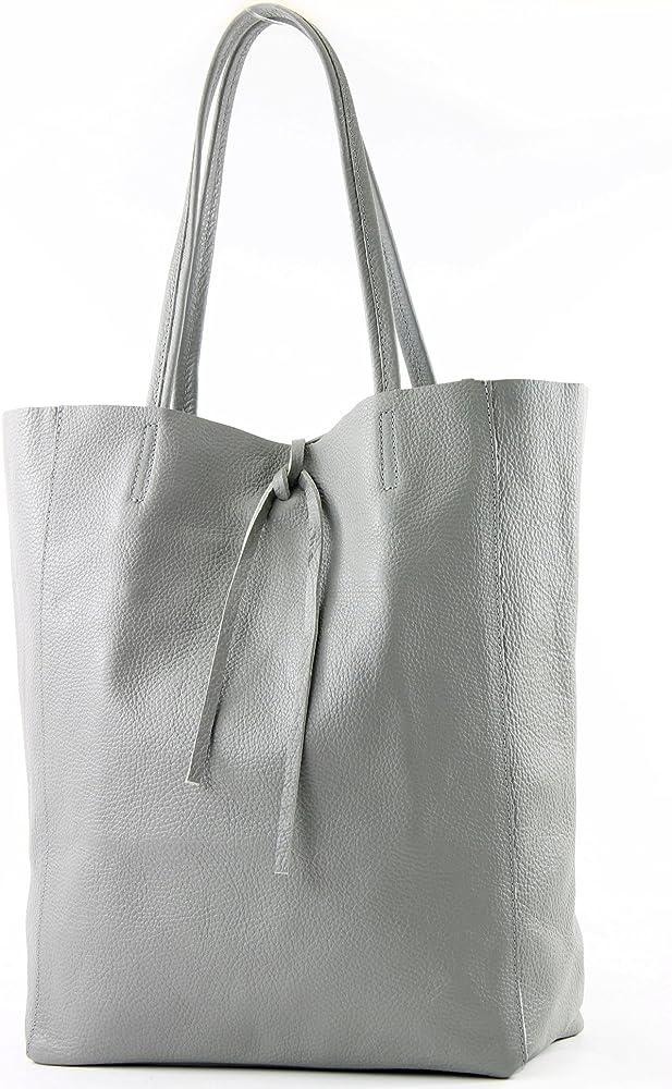 Modamoda de, borsa in pelle, shopper per donna a spalla, grigia T163GR