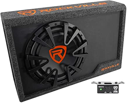 "$109 Get Rockville RWS12CA Slim 1200 Watt 12"" Amplified Powered Car Subwoofer Enclosure"