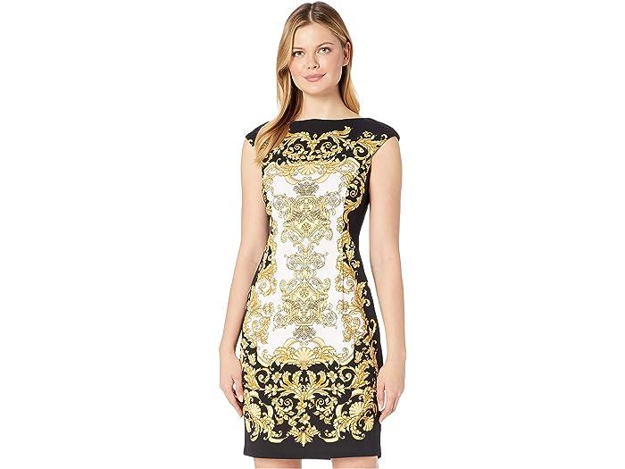 London Times Womens Cap Sleeve V Neck Sheath Dress w Jeweled Insert
