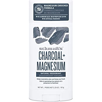 Schmidt's Natural Deodorant for Men and Women, 24 Hour Odor Protection and Freshness Charcoal + Magnesium Aluminum Free, Vegan, Certified Cruelty Free, 3.25 oz