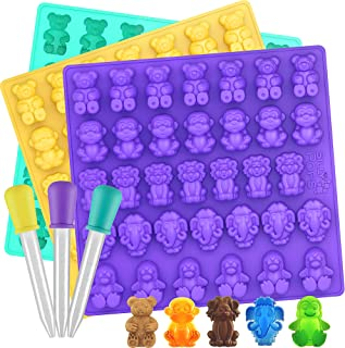 Large Gummy Bear Mold Bpa Free Silicone - Set of 3 for 102 Candies - 5 Different Types of Animals - 3 Droppers Included - ...