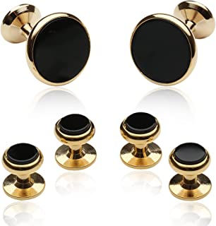 gold and black cufflinks