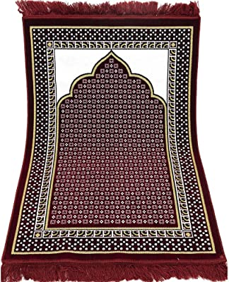 Modefa Velvet Dancing Rose Vine Islamic Prayer Rug Carpet Sajadah Janamaz (Red)