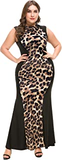 a624acb793d48 PlusSize Depot Women s Plus Size Casual Leopard Print Maxi Dress Sleeveless  Long Dresses 1xl-5xl