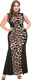 Women's Plus Size Casual Leopard Print Maxi Dress Sleeveless Long Dresses 1xl-5xl