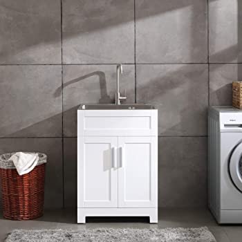 """24"""" White Laundry Utility Cabinet w/Stainless Steel Sink and Faucet Combo"""